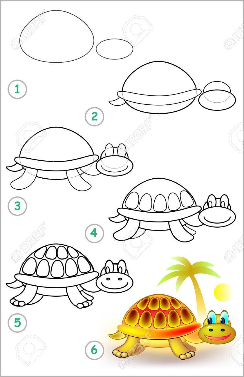 Seite Zeigt, Wie Schritt Für Schritt Zu Lernen, Eine Schildkröte Zu ...