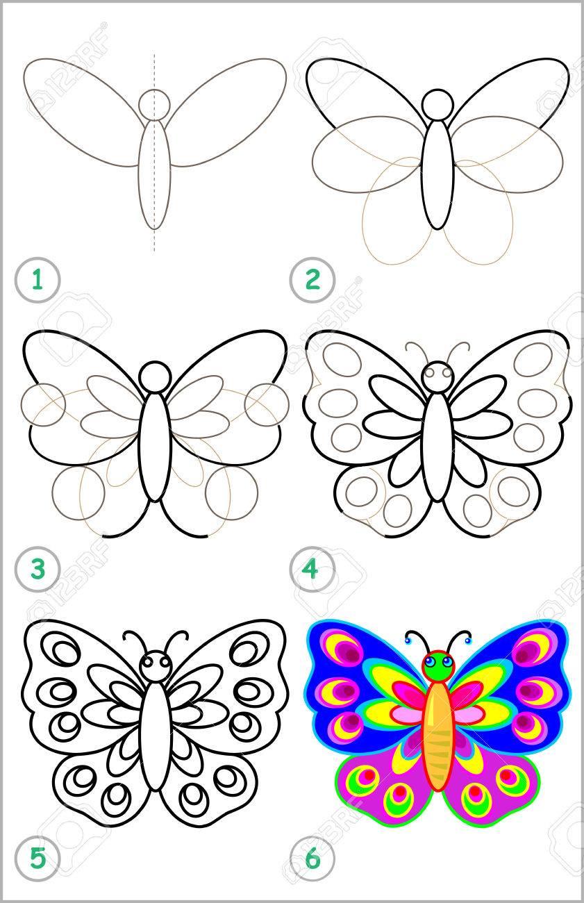Página Muestra Cómo Aprender Paso A Paso Para Dibujar Una Mariposa