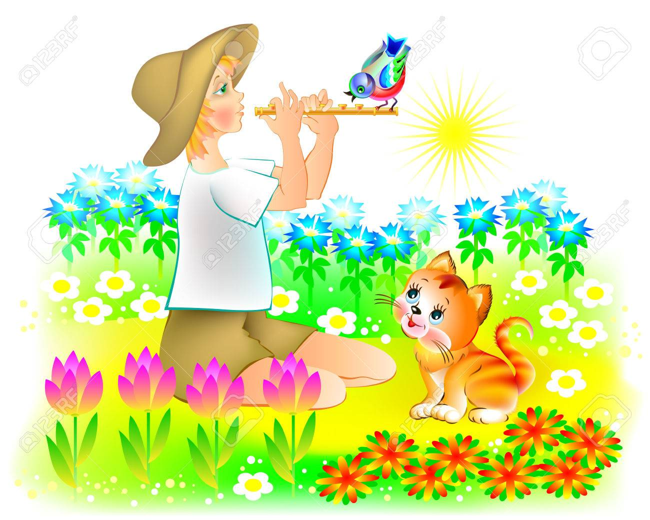 Illustration of little boy playing the pipe at sunrise, vector cartoon image. - 67553420