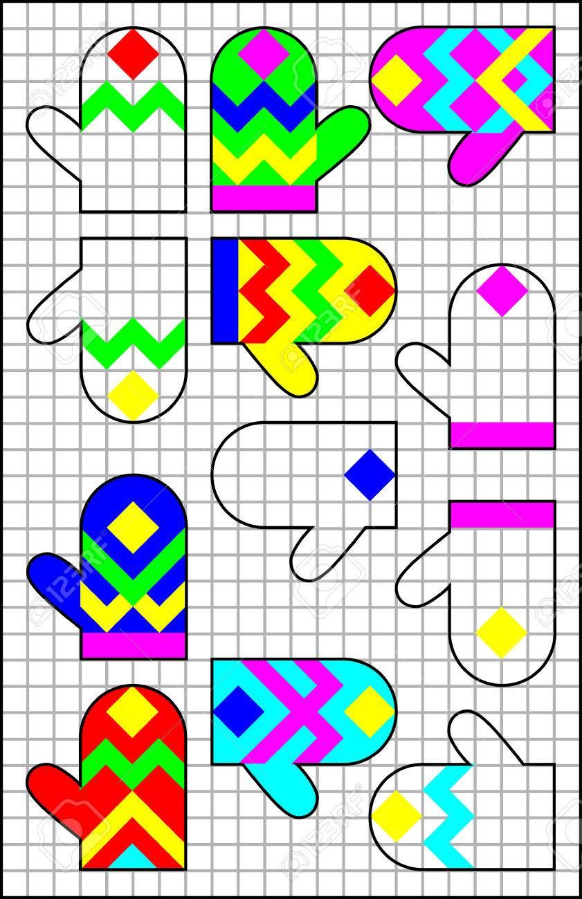 Logic Puzzle Auf Einem Quadratischen Papier. Finden Sie Das Paar Für ...