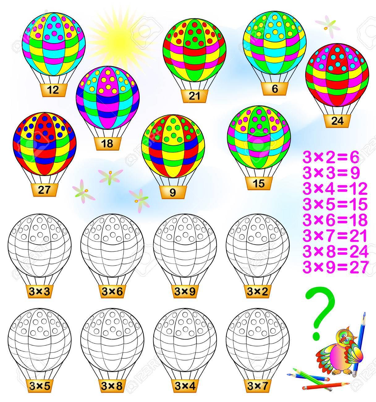 Bung Für Kinder Mit Multiplikation Mit Drei. Lösen Sie Beispiele Und ...