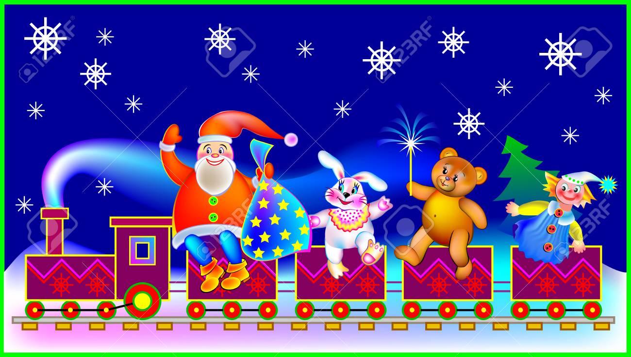 Carte De Noel Droles.Carte De Voeux De Noël Avec Le Père Noël Et Jouets Drôles Image De Dessin Animé