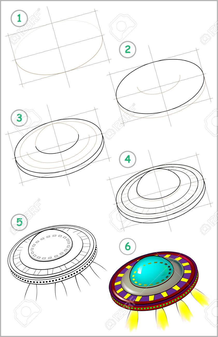 Page Shows How To Learn Step By Step To Draw Flying Saucer Developing Royalty Free Cliparts Vectors And Stock Illustration Image 67656992