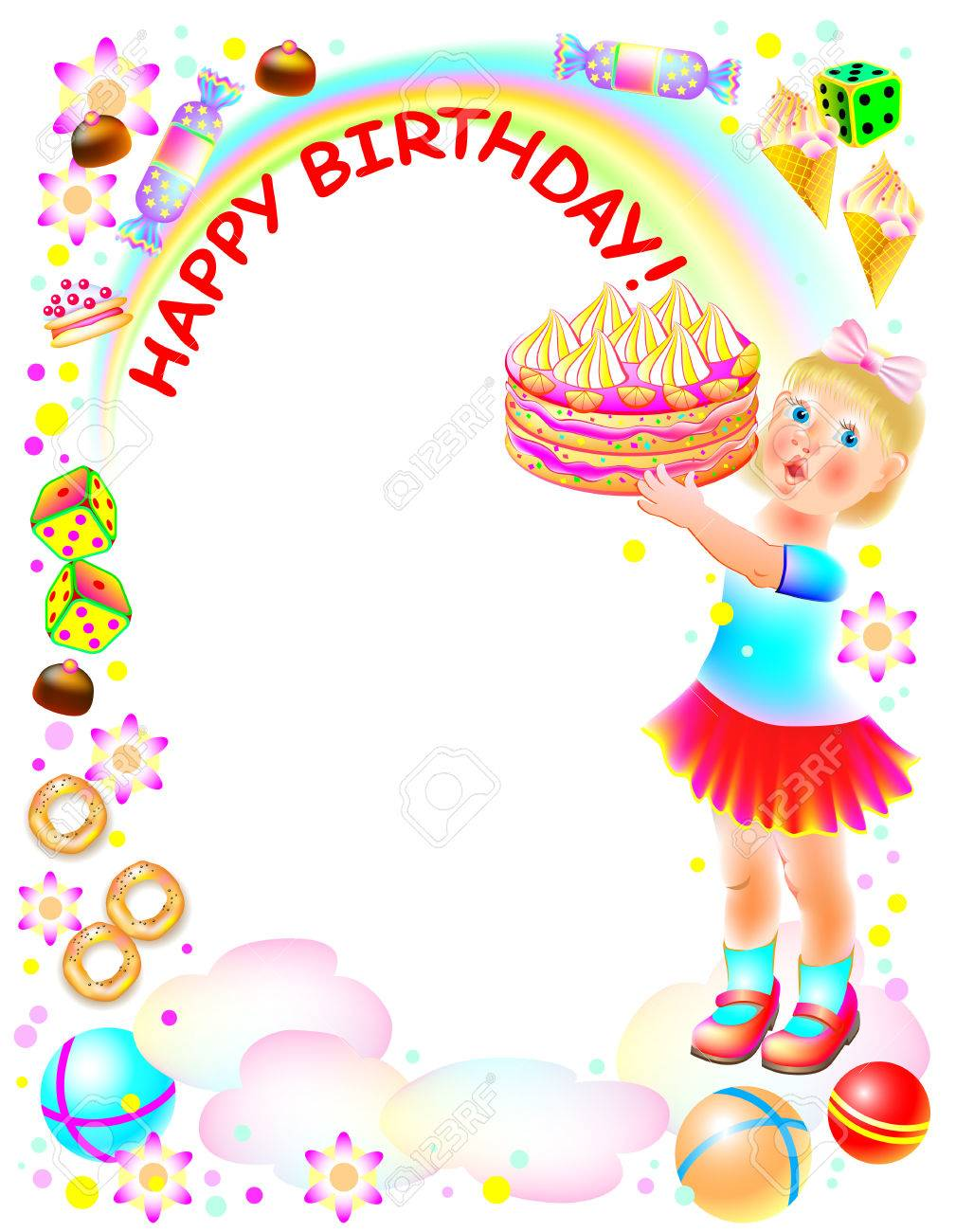 Birthday Greeting Card With Little Girl Holding A Cake Cartoon