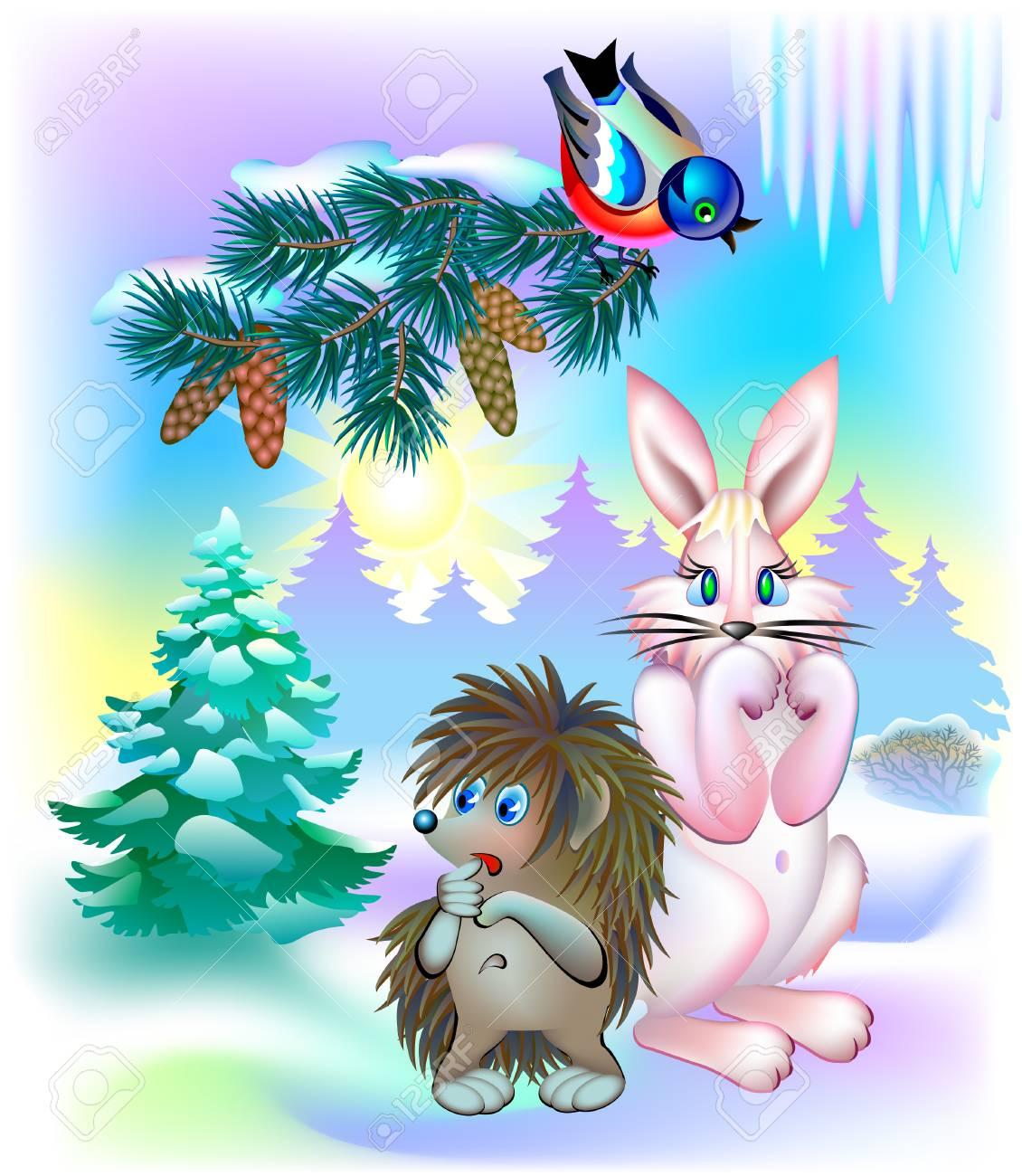 ベクトル漫画画像冬の間に春を待っている動物のイラスト