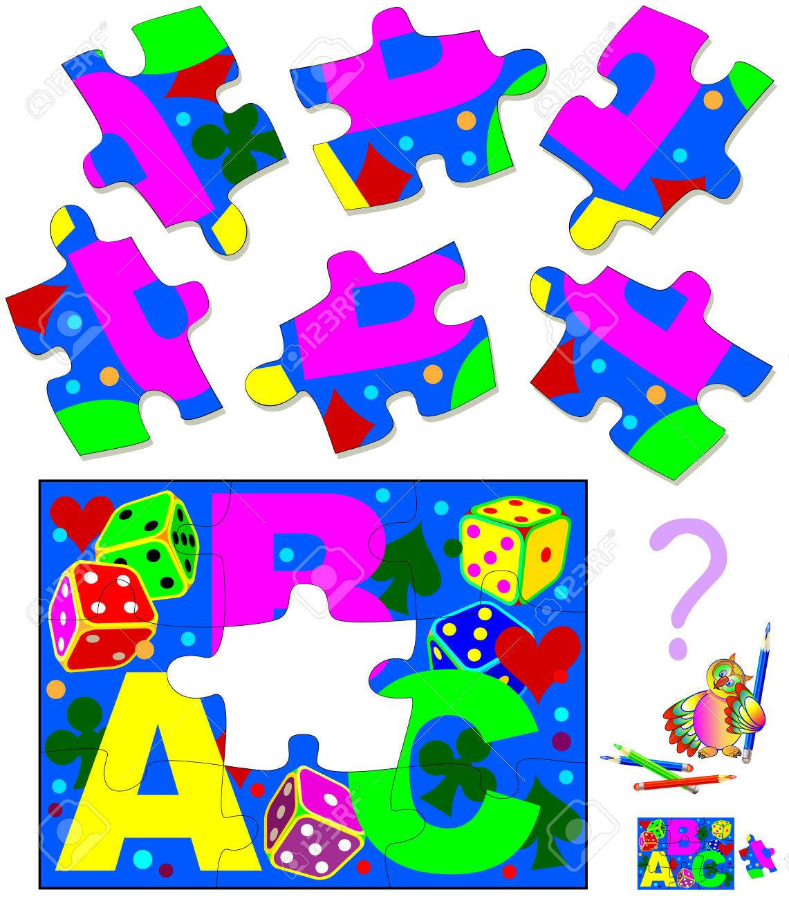 Logic puzzle. Find and draw the only one piece that corresponds to picture. Vector cartoon image. - 69774532