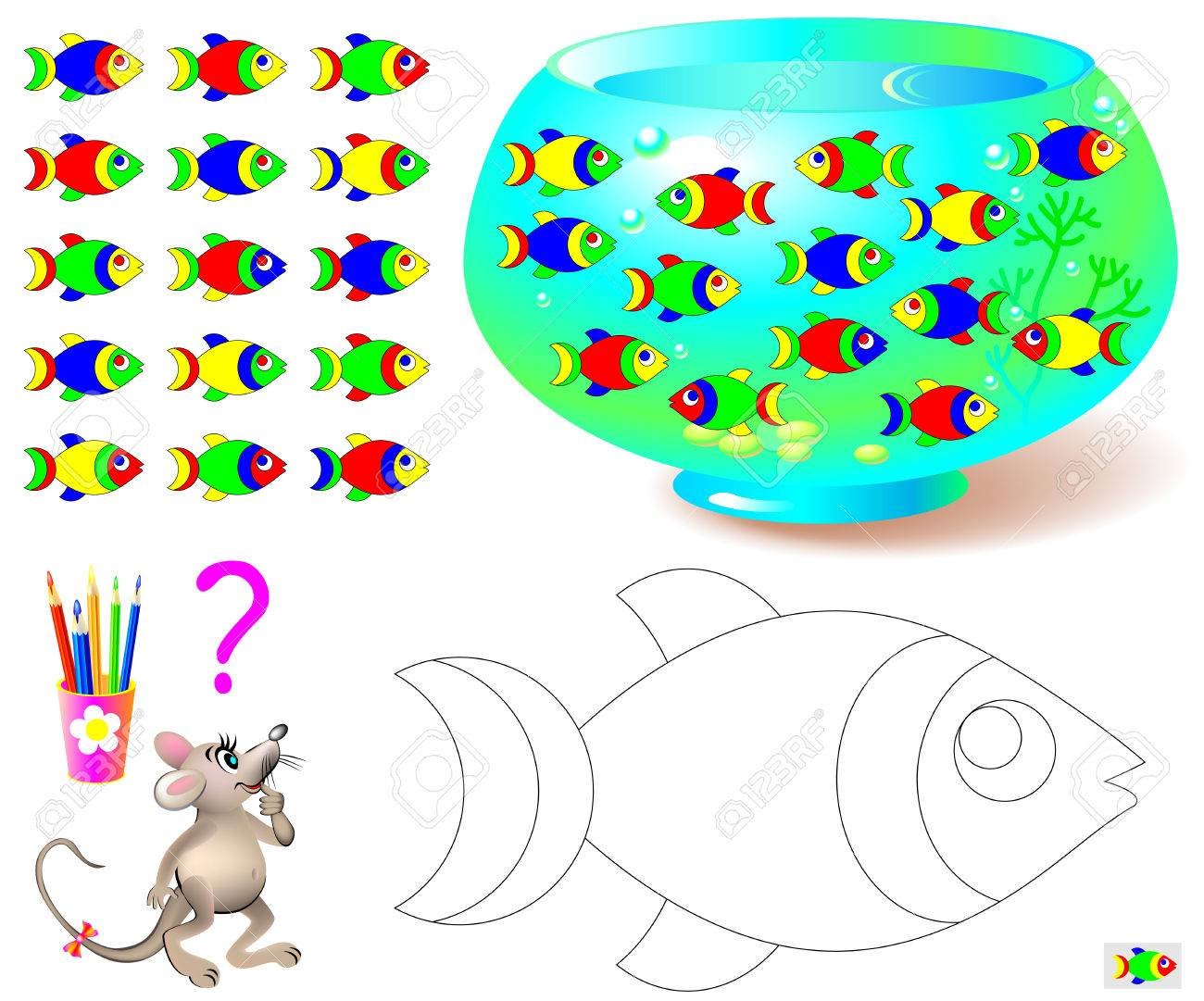 Coloring page with logic puzzle for children. Need to find the only one fish missing in aquarium and paint black and white drawing in corresponding colors. Vector cartoon image. - 70458105