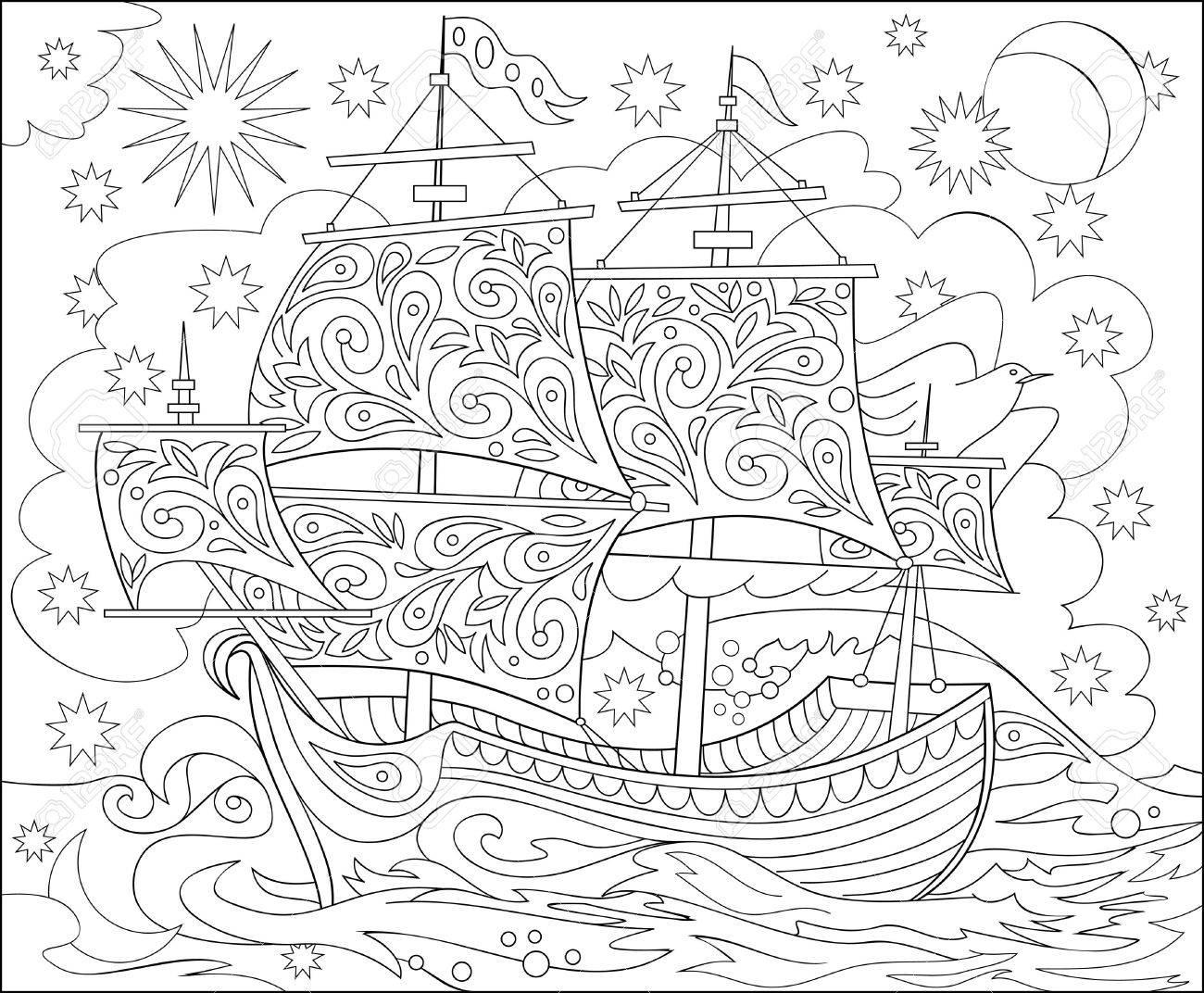Pencil illustration of fantasy fairyland ship for coloring. - 71371419