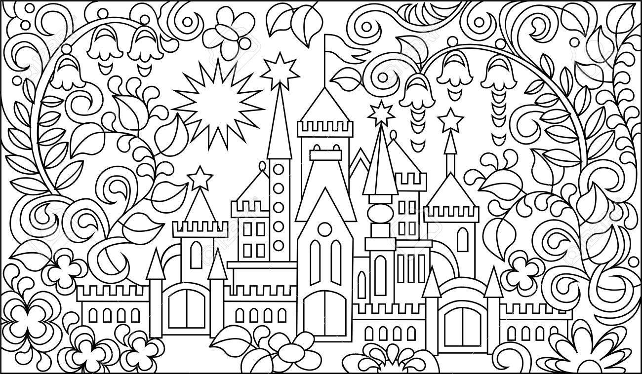 Ilustración Blanco Y Negro Del Castillo Del Fairyland Para Colorear ...