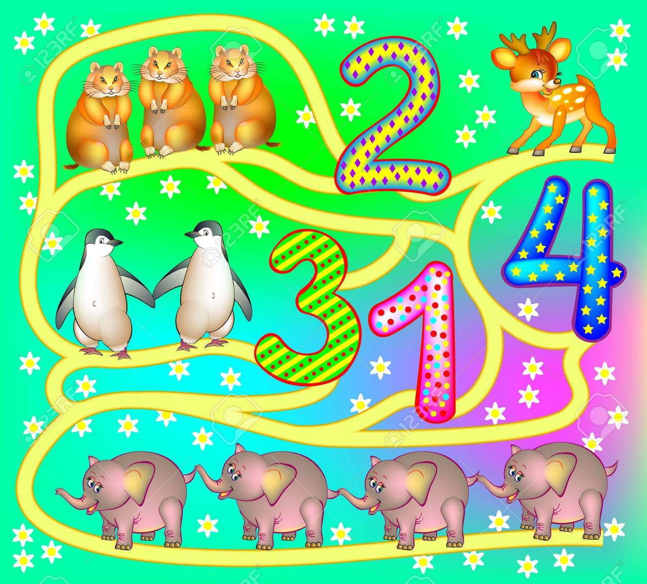 Ejercicios Para Niños Pequeños Necesita Contar Los Animales Y Dibujar El Camino Hasta Los Números Relevantes Imagen De Dibujos Animados De Vector