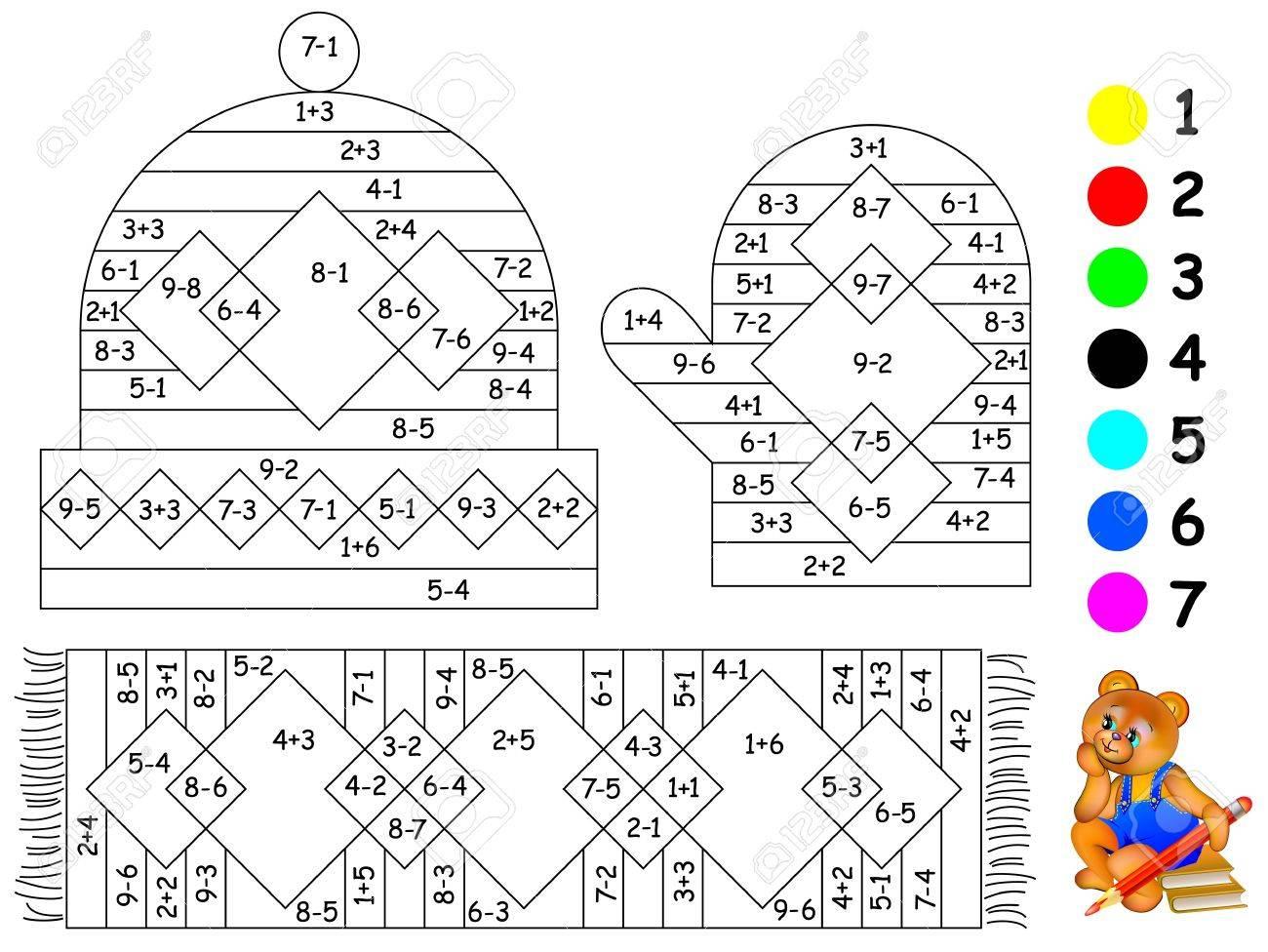 Página Educativa Con Ejercicios Para Niños Sobre Sumas Y Restas Necesita Pintar La Imagen En Un Color Relevante Imagen Vectorial