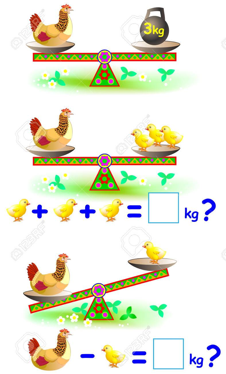 Page With Mathematical Exercises For Young Children. Worksheet ...