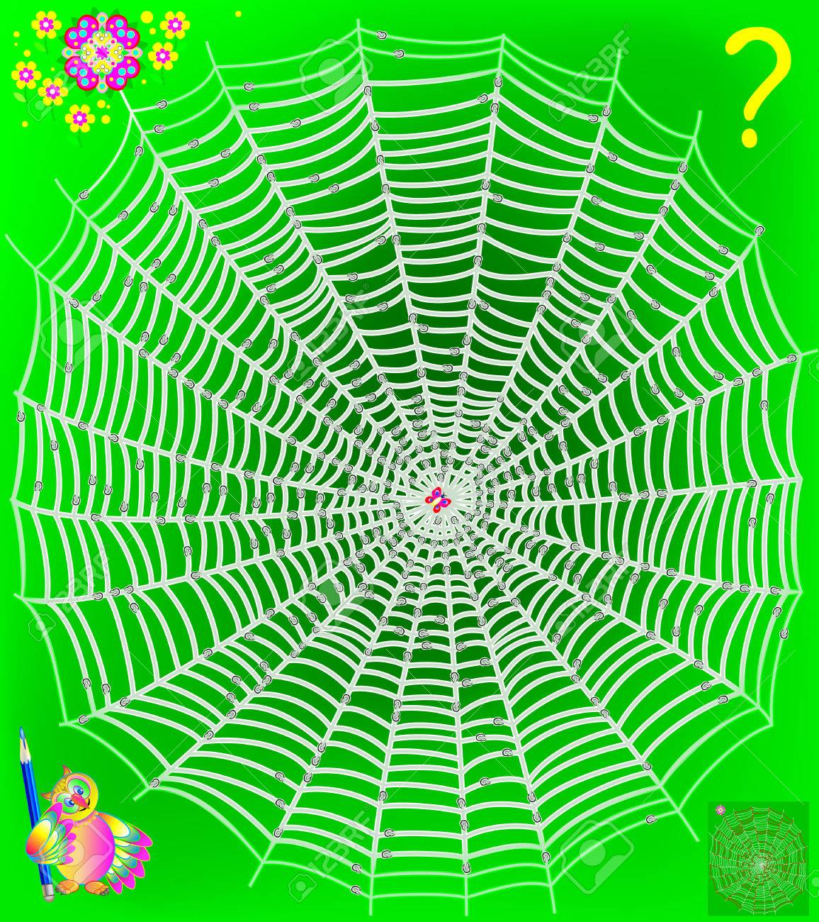 Logic puzzle game with labyrinth. Help the butterfly get out of the web. Need to draw the way till the flower. It is forbidden to cross the nodes. - 75324267