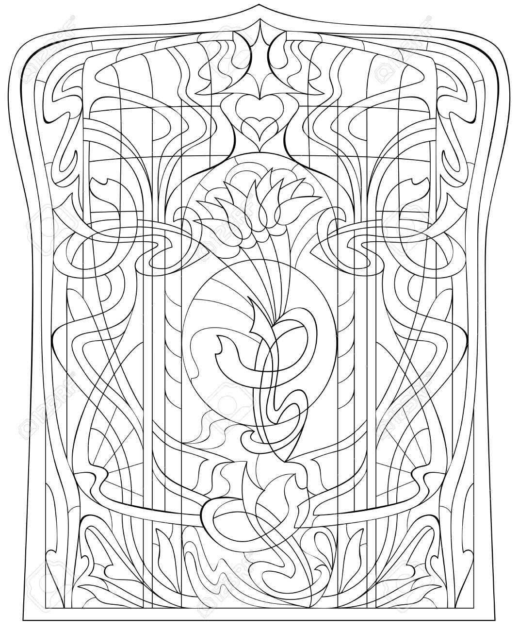 Página En Blanco Y Negro Para Colorear Dibujo De Hermosa Ventana