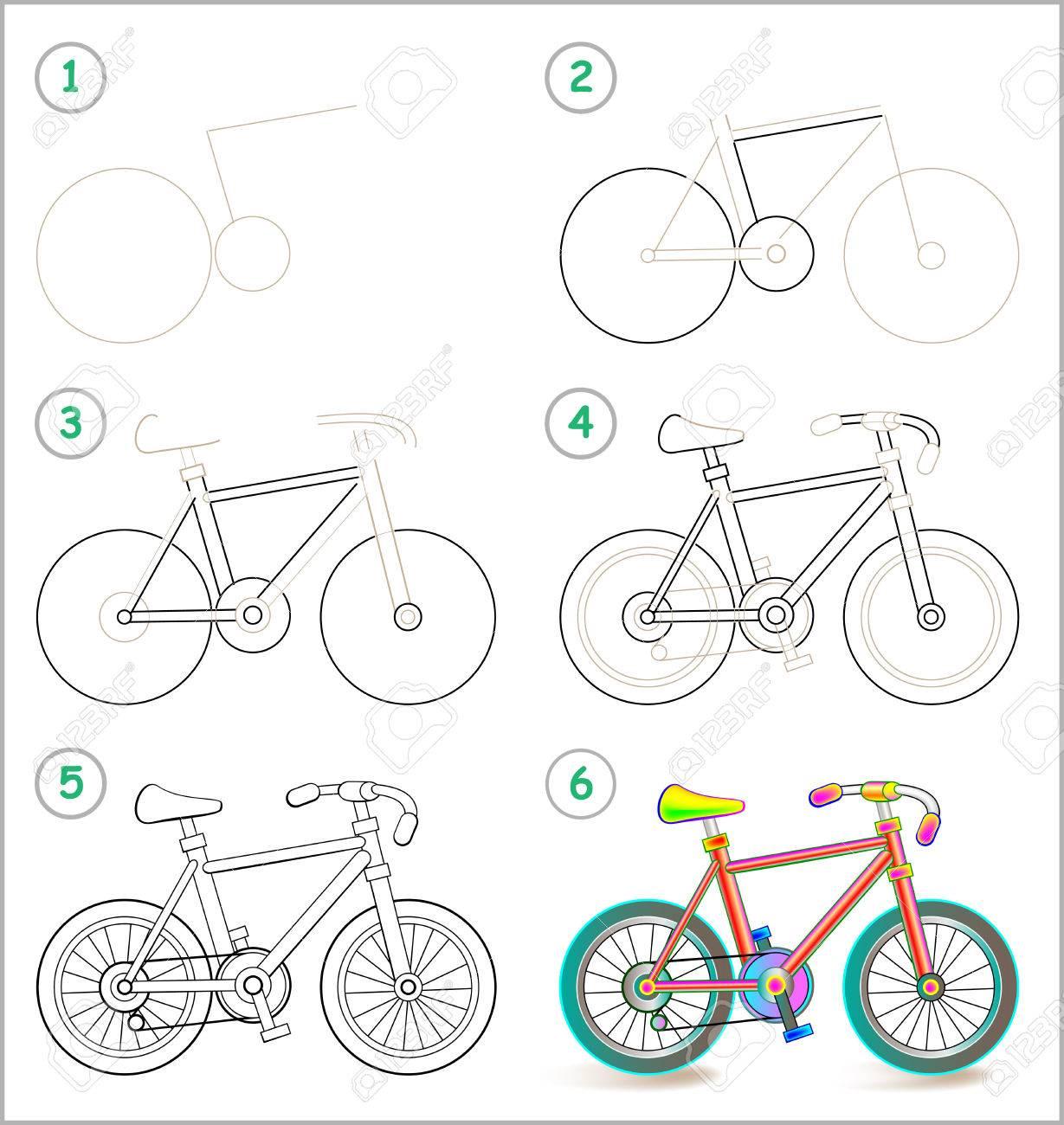 La Página Muestra Cómo Aprender Paso A Paso Para Dibujar Una Bicicleta De Juguete Ilustraciones Vectoriales Clip Art Vectorizado Libre De Derechos Image 75569952