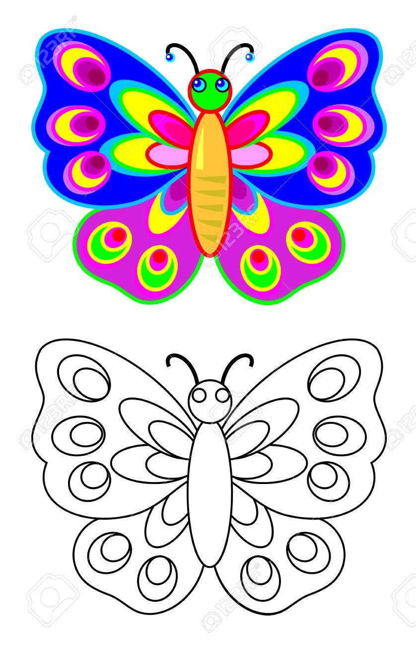 Mariposa De Patrón Colorido Y Blanco Y Negro Hoja De Trabajo Para Colorear Imagen De Dibujos Animados De Vector