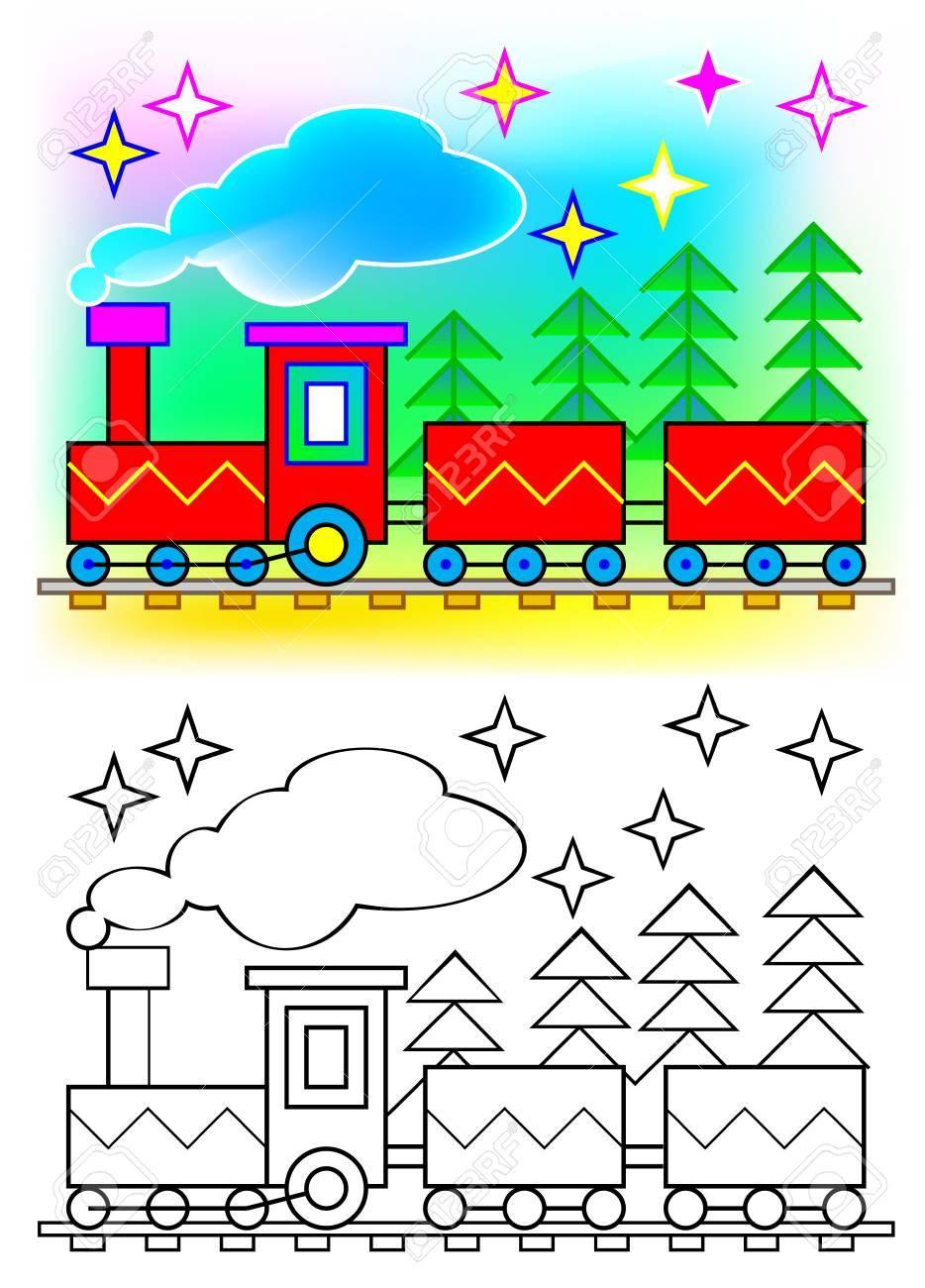 Tren De Patrón Colorido Y Blanco Y Negro Hoja De Trabajo Para Colorear Imagen De Dibujos Animados De Vector