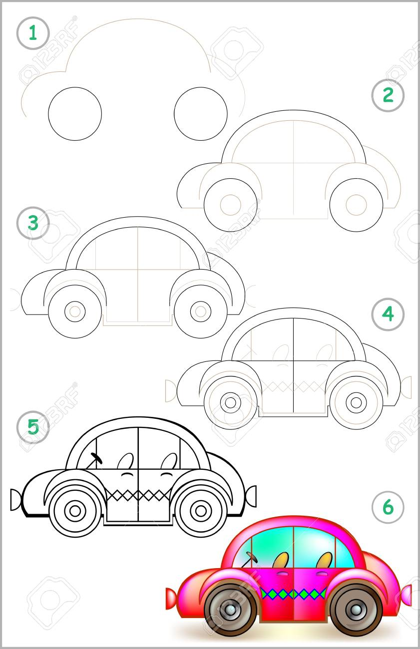 La Pagina Muestra Como Aprender Paso A Paso A Dibujar Un Carro