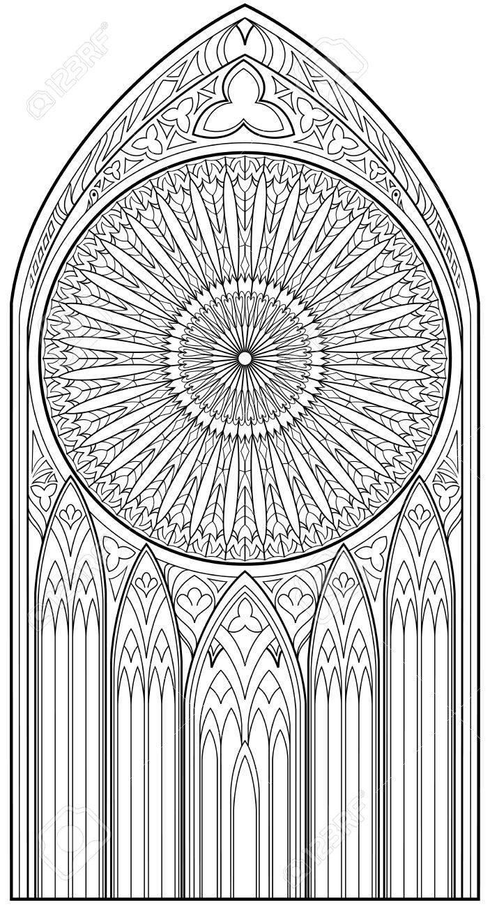 Página Con Dibujo En Blanco Y Negro De Hermosa Ventana Gótica