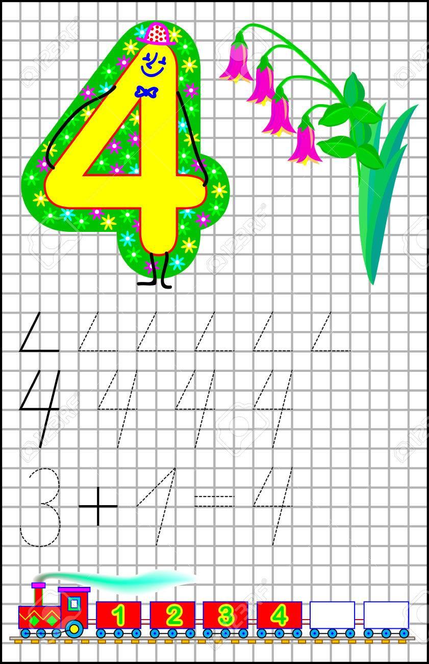 Pädagogische Seite Für Kinder Auf Einem Quadratischen Papier Mit Der ...
