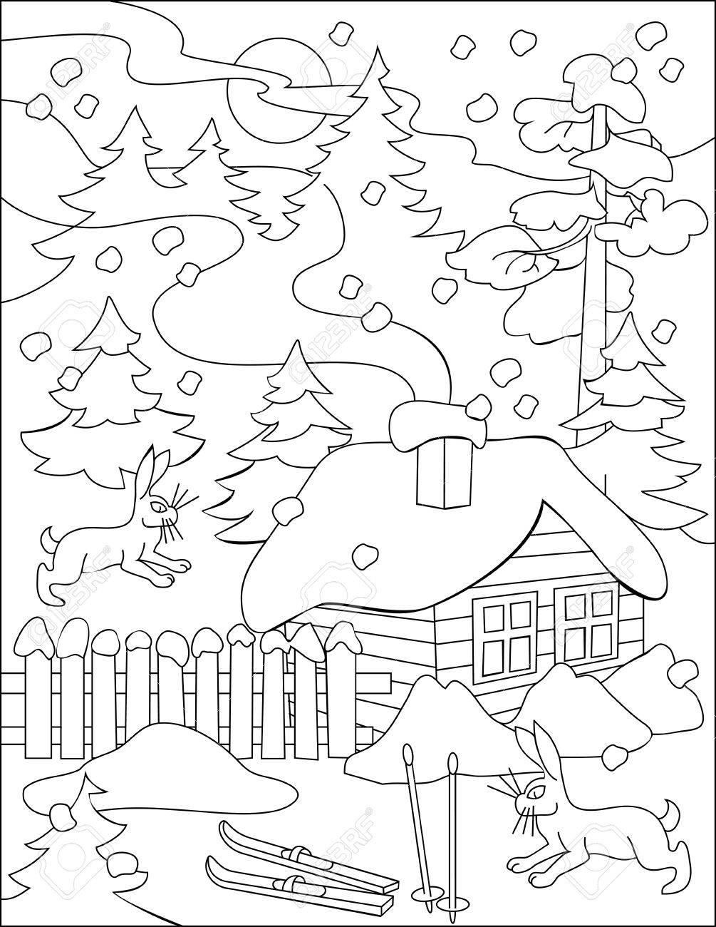 Página Con El Dibujo Blanco Y Negro Del Invierno Para Colorear