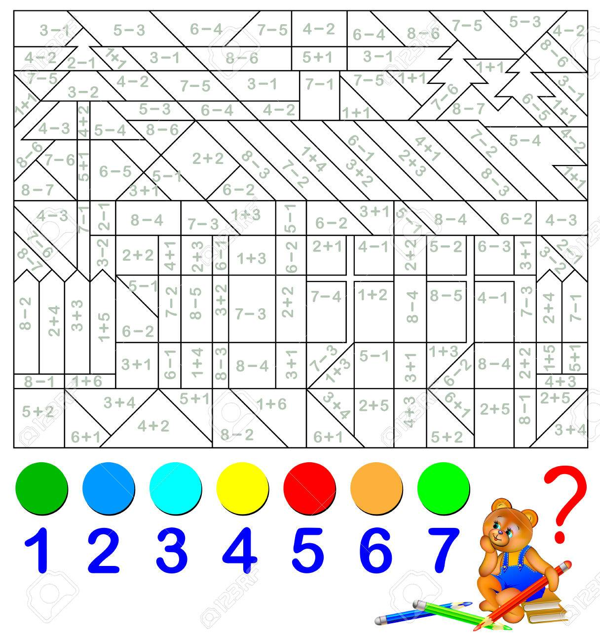 Mathematical worksheet for children on addition and subtraction. Solve examples and paint the image in relevant colors. - 82634309