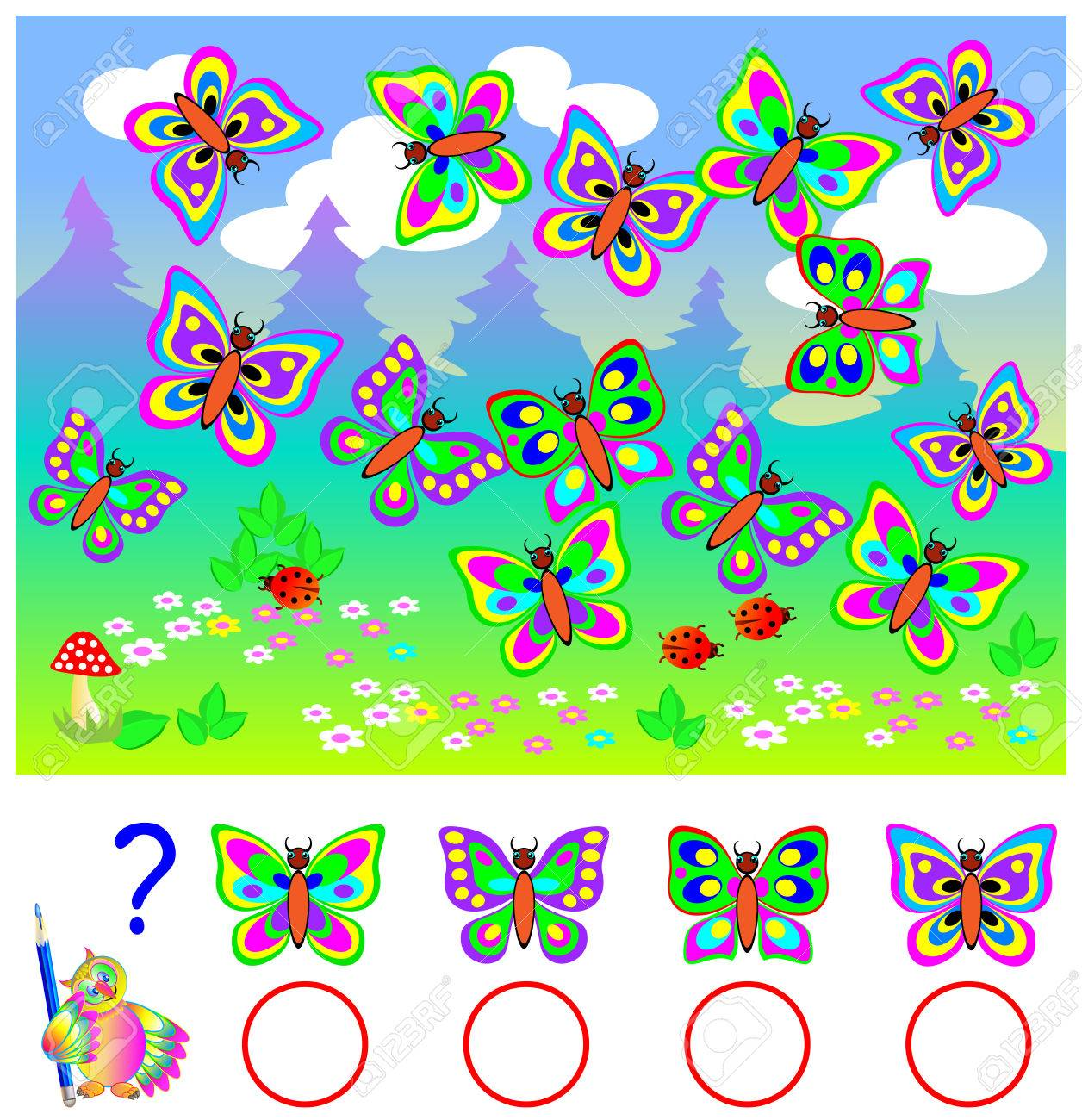 Educational Page For Children. Count Identical Butterflies And ...