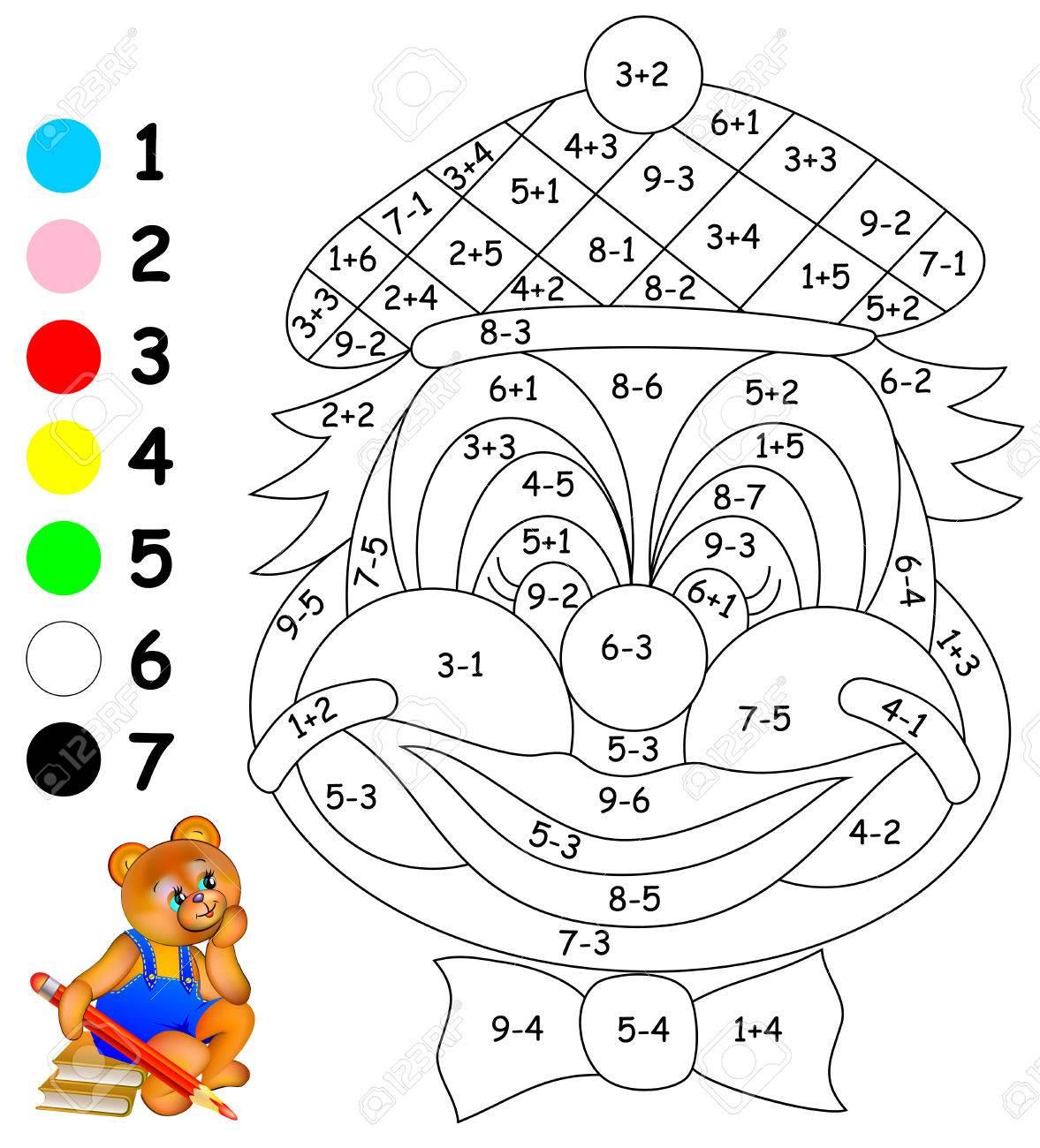 Hoja De Cálculo Matemática Para Niños Sobre Suma Y Resta Necesita Resolver Ejemplos Y Pintar La Imagen En Colores Relevantes Desarrollar