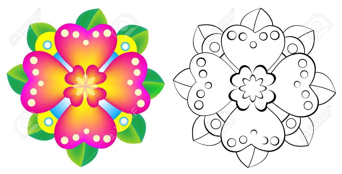 Fleur De Motif Coloré Et Noir Et Blanc Image De Dessin Animé