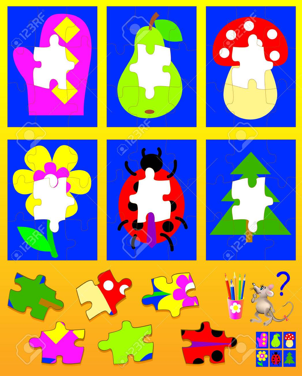 Logic puzzle for children. Need to find the appropriate details and to draw them in empty places. Vector cartoon image. - 85492605