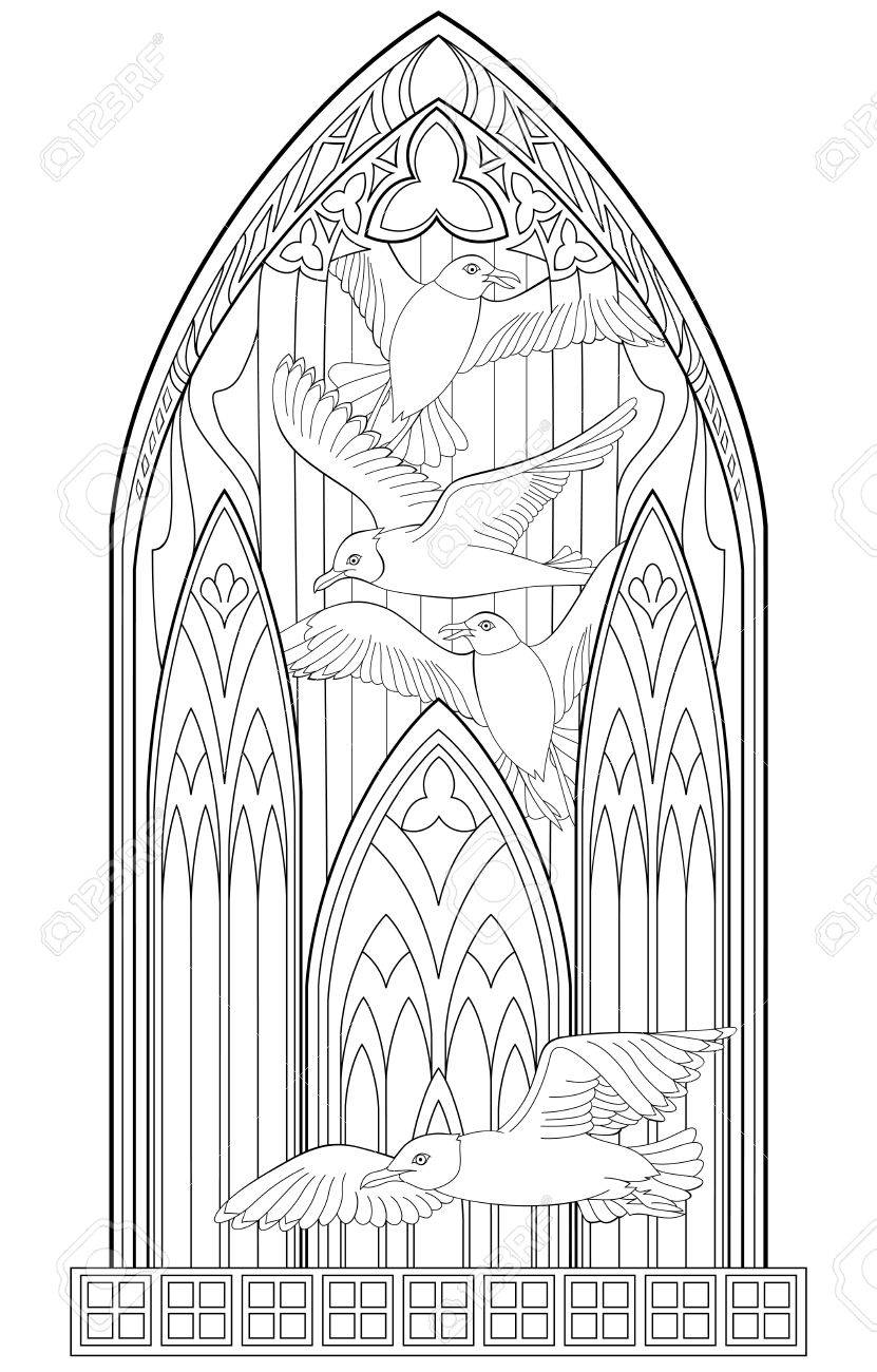 Page With Black And White Drawing Of Beautiful Gothic Stained Glass Seagulls For Coloring