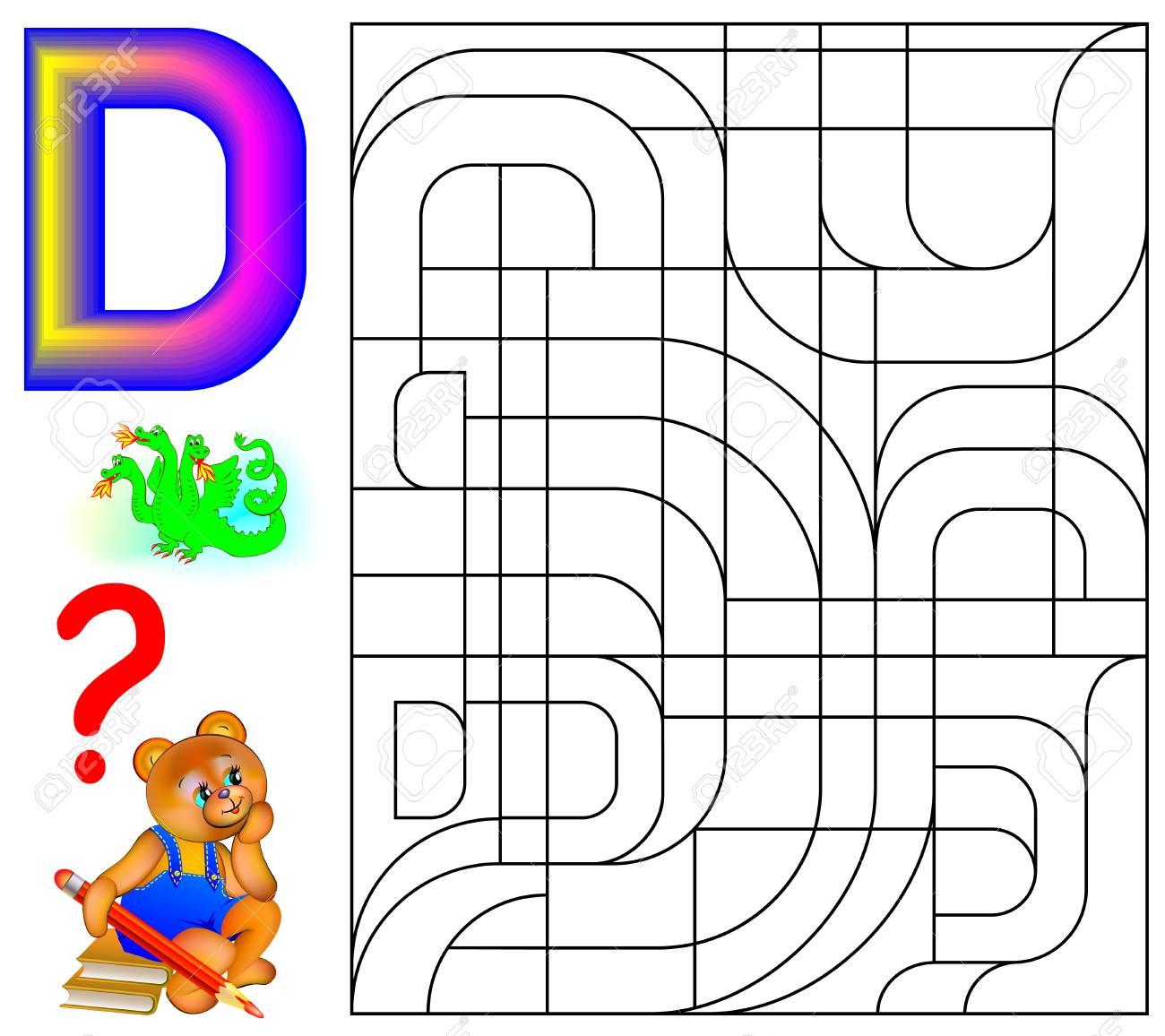 Juego De Rompecabezas De Lógica Con Letra D Para Estudiar Inglés Encuentra Y Pinta 5 Letras D