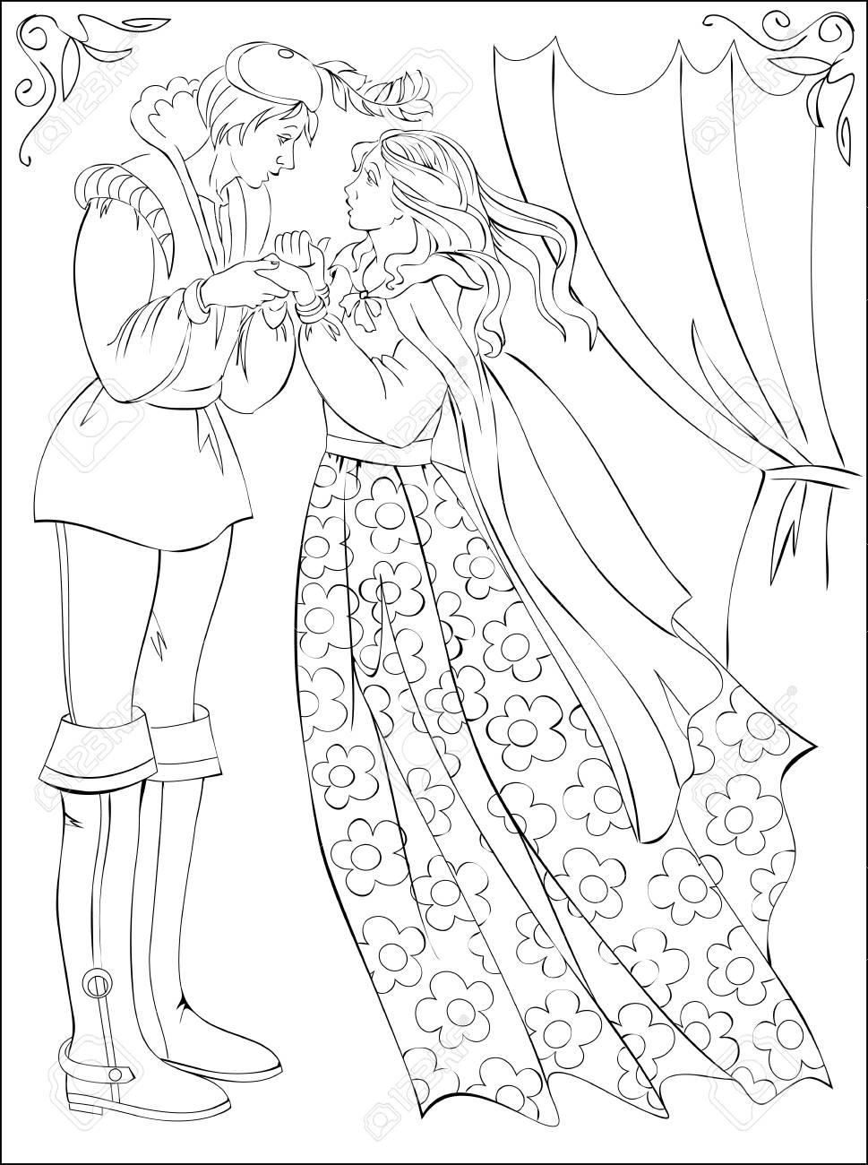 Página En Blanco Y Negro Para Colorear Dibujo De La Fantasía Del Príncipe Y De La Princesa Del Cuento De Hadas Hoja De Trabajo Para Niños Y Adultos