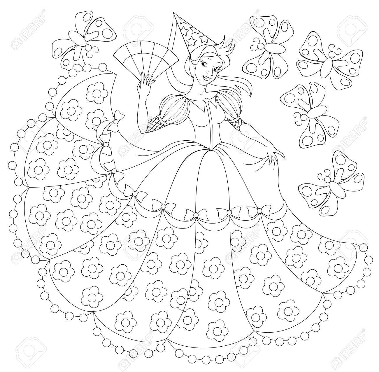 Ilustración En Blanco Y Negro De La Princesa Para Colorear ...