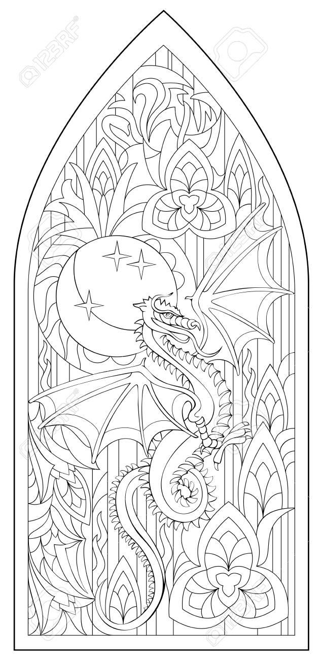 Seite Mit Schwarzweiss-Zeichnung Des Schönen Mittelalterlichen ...