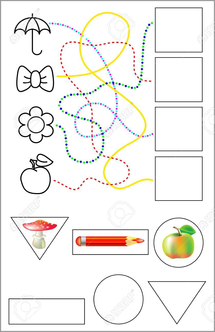 Ejercicios Para Niños Pequeños Necesita Dibujar Objetos En Los Cuadrados Relevantes