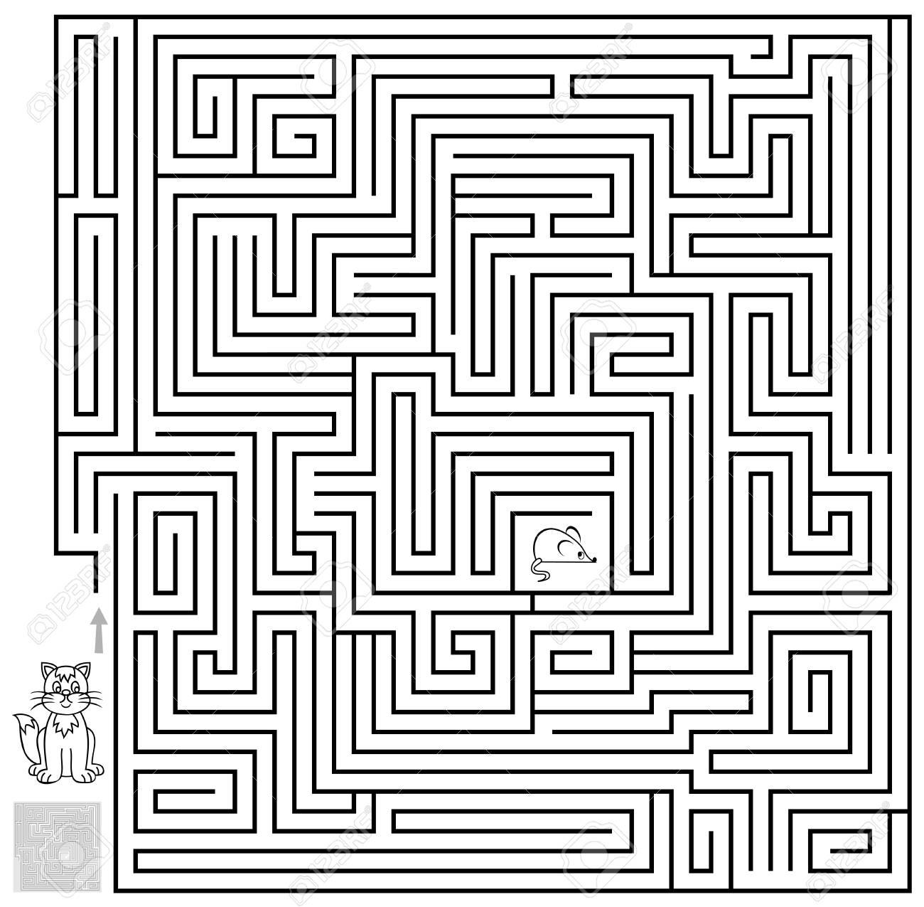 Logikpuzzlespielspiel Mit Labyrinth. Müssen Den Weg Von Der Katze ...