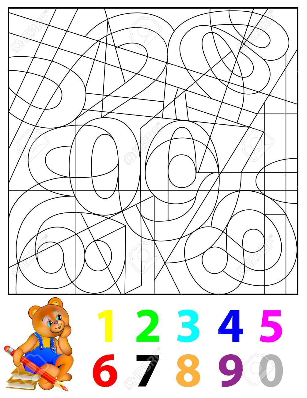 Logikübung Für Kleine Kinder. Müssen Die Versteckten Zahlen Finden ...
