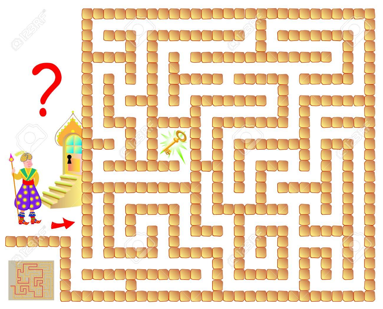 Logik-Puzzle-Spiel Mit Labyrinth Für Kinder Und Erwachsene. Hilf Dem ...