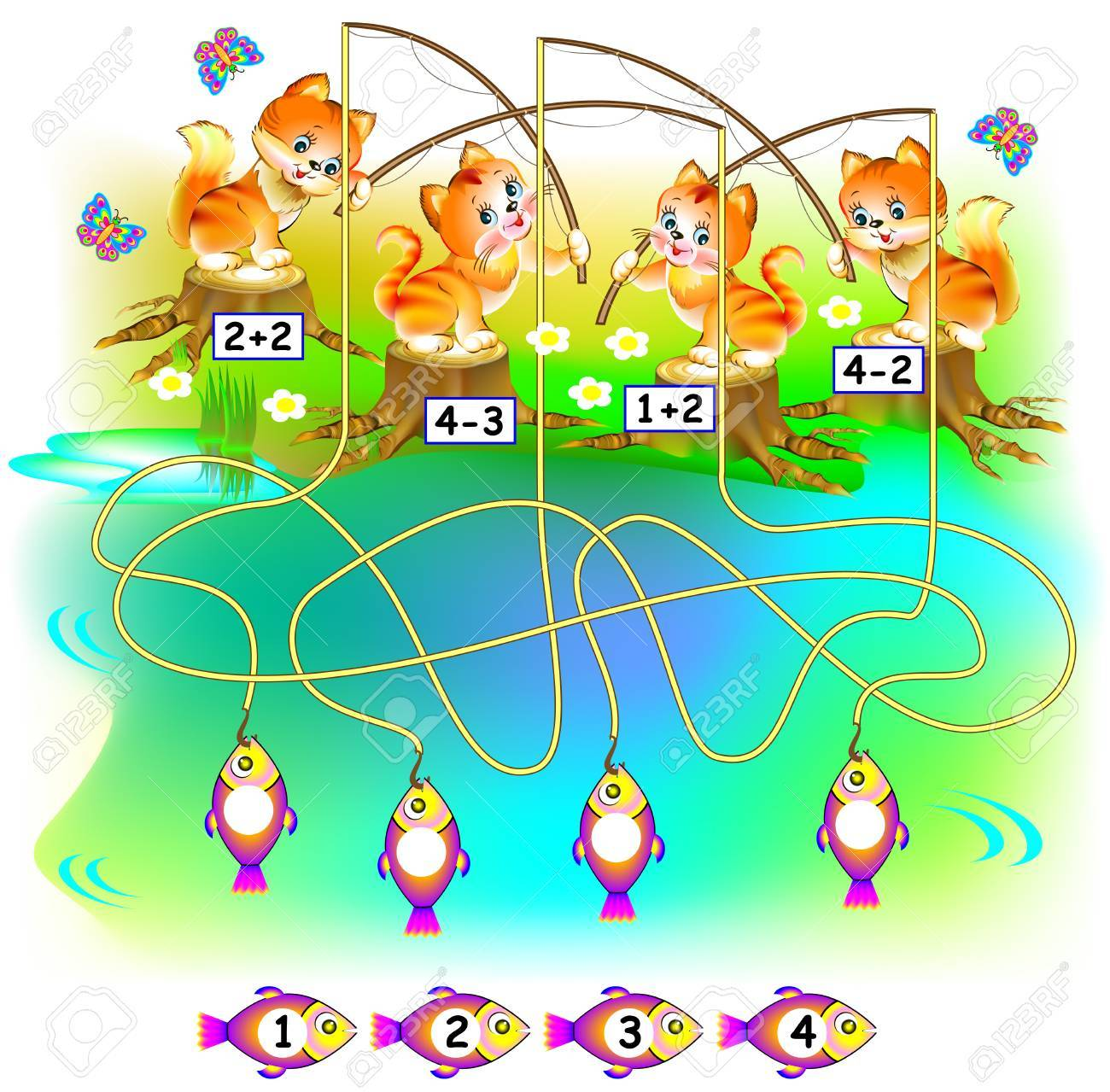 Exercises for children. Need to find the fish for each kitten and to write the numbers in the relevant circles. - 88274765