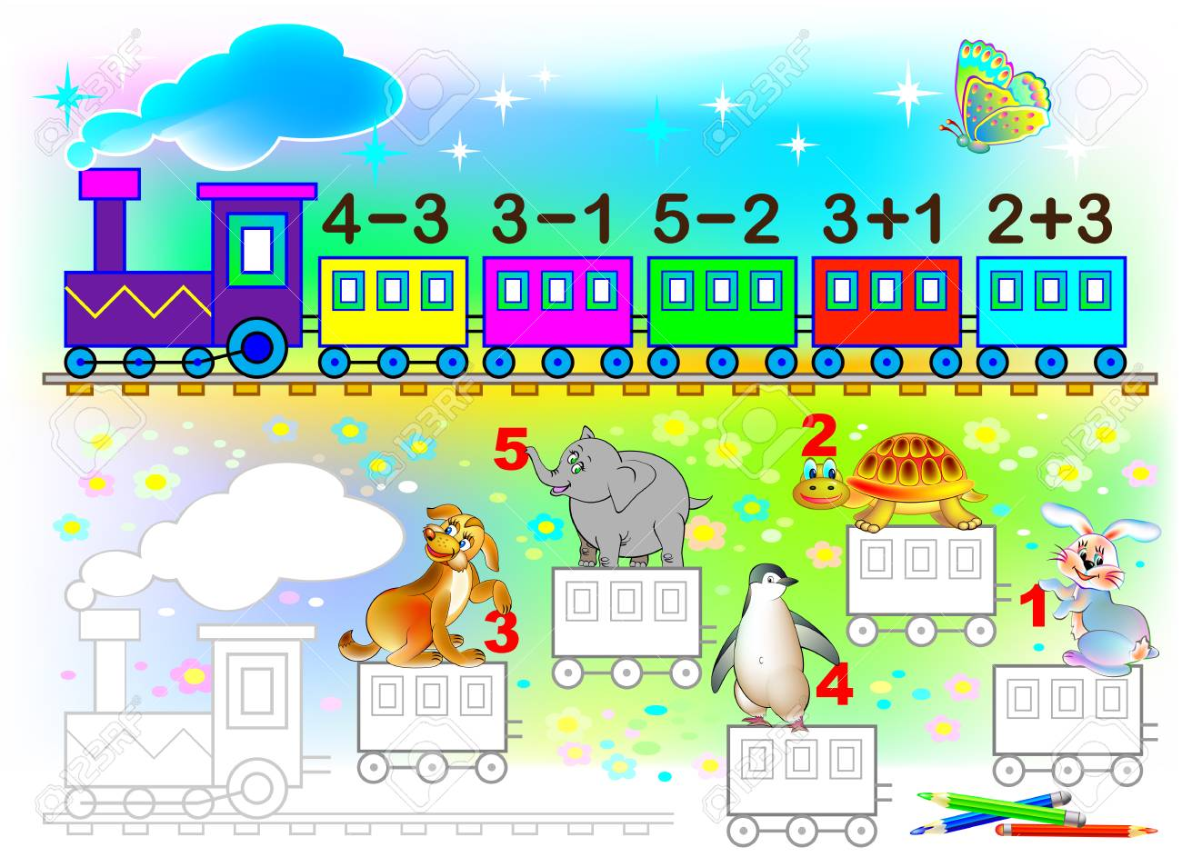 Mathematical Worksheet For Young Children On Addition And ...