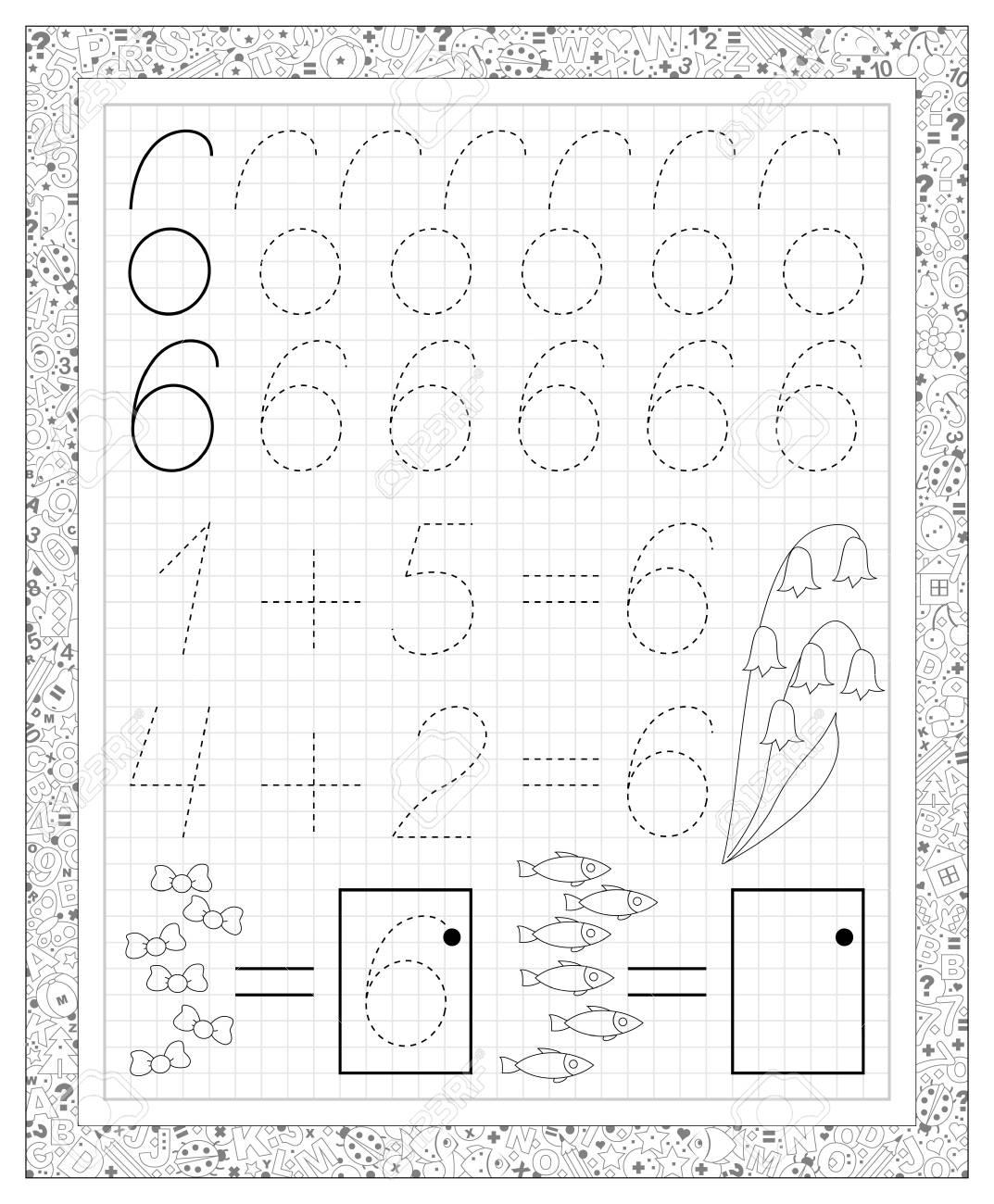 Schwarz-Weiß-Arbeitsblatt Auf Einem Quadratischen Papier Mit Übungen ...