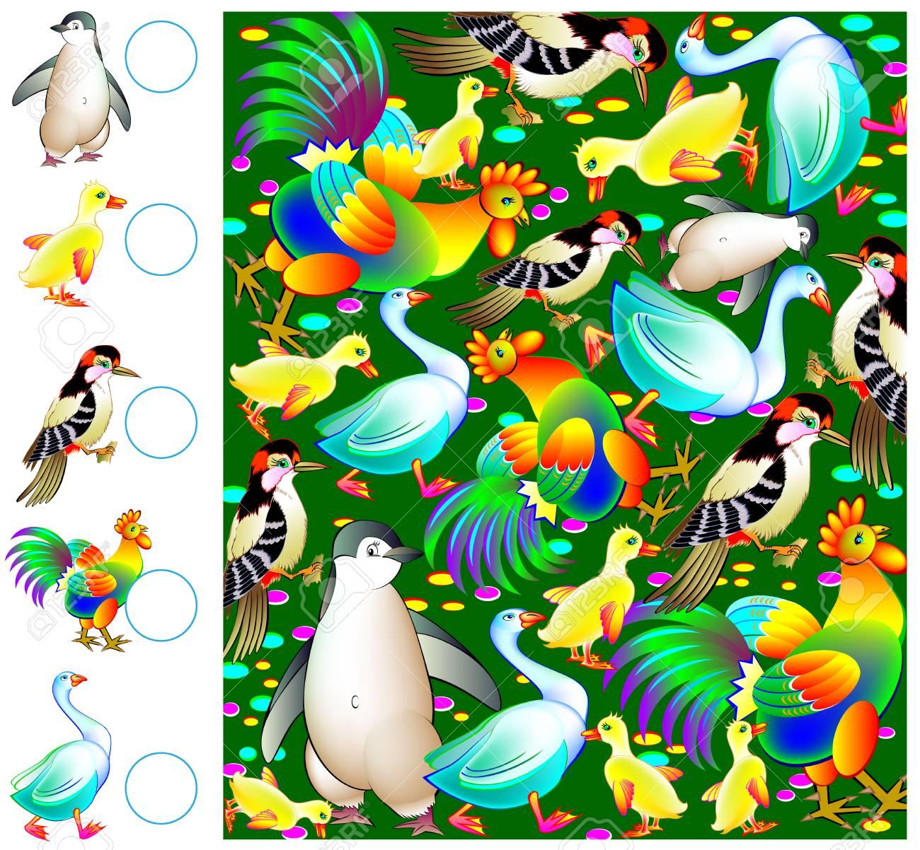 Ejercicios Para Niños Pequeños Necesita Contar Las Aves Y Dibujar Los Números Correspondientes En Círculos