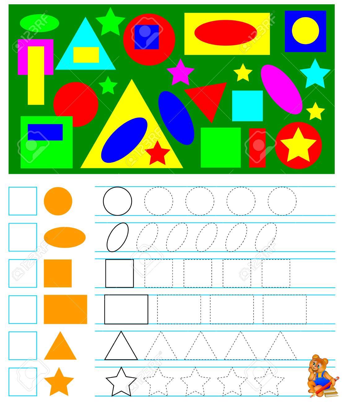 Ejercicios Para Niños Pequeños Necesita Contar Las Figuras Geométricas Y Dibujar Los Números Correspondientes En Cuadrados