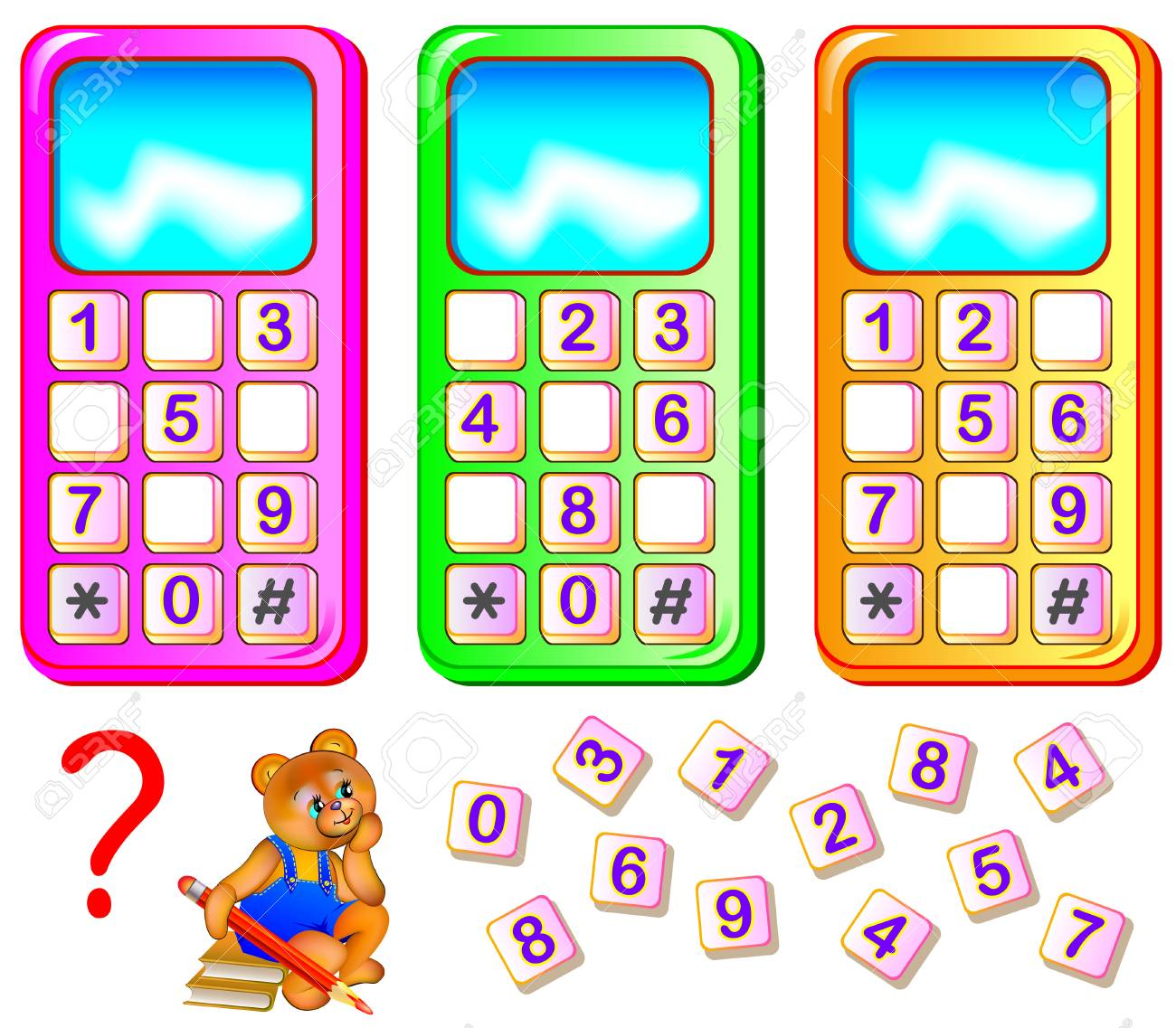 Worksheet for young children. Help the bear to repair mobile phones. Find the missing numbers and write them on the correct places. Logic puzzle game. - 89088976
