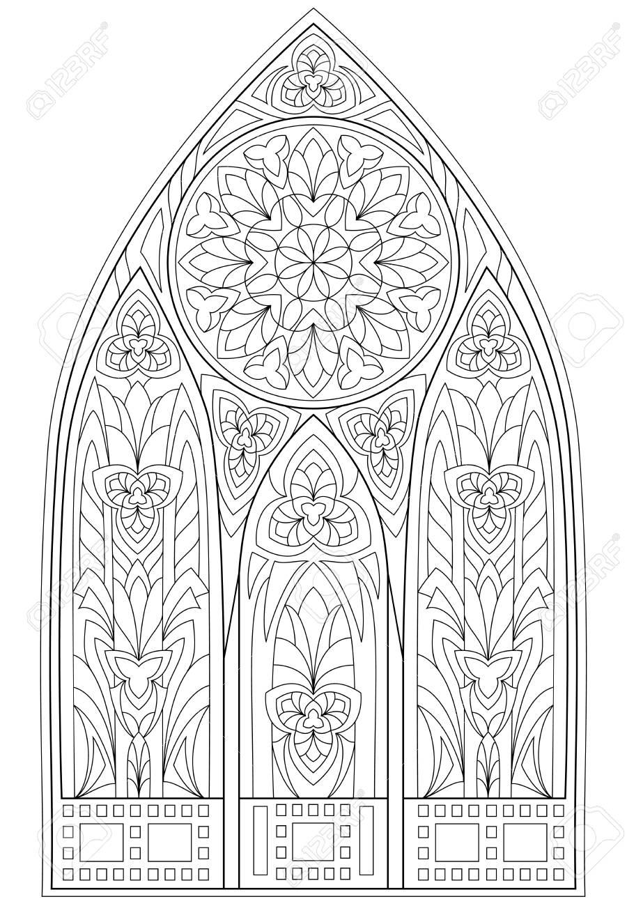 Página Con Dibujo En Blanco Y Negro De La Hermosa Ventana Gótica ...