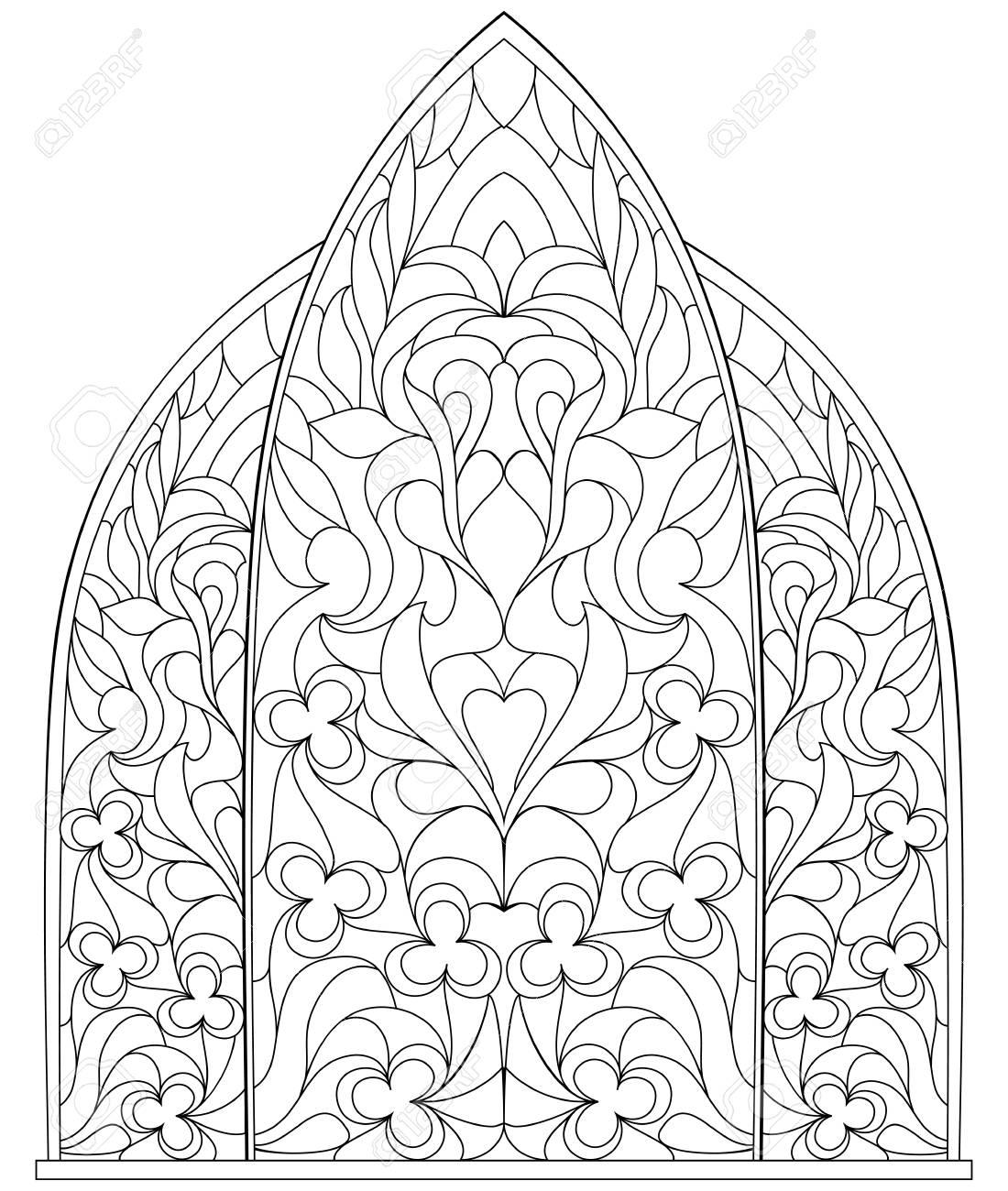 Página En Blanco Y Negro Para Colorear Para Niños Y Adultos Ventana Gótica Con Vidrieras En Estilo Medieval