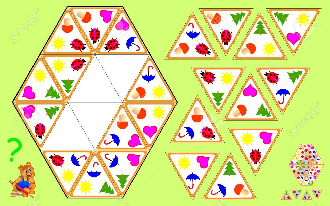 Logik Triomino Puzzle. Müssen Vier Verbleibende Dreiecke Finden Und ...