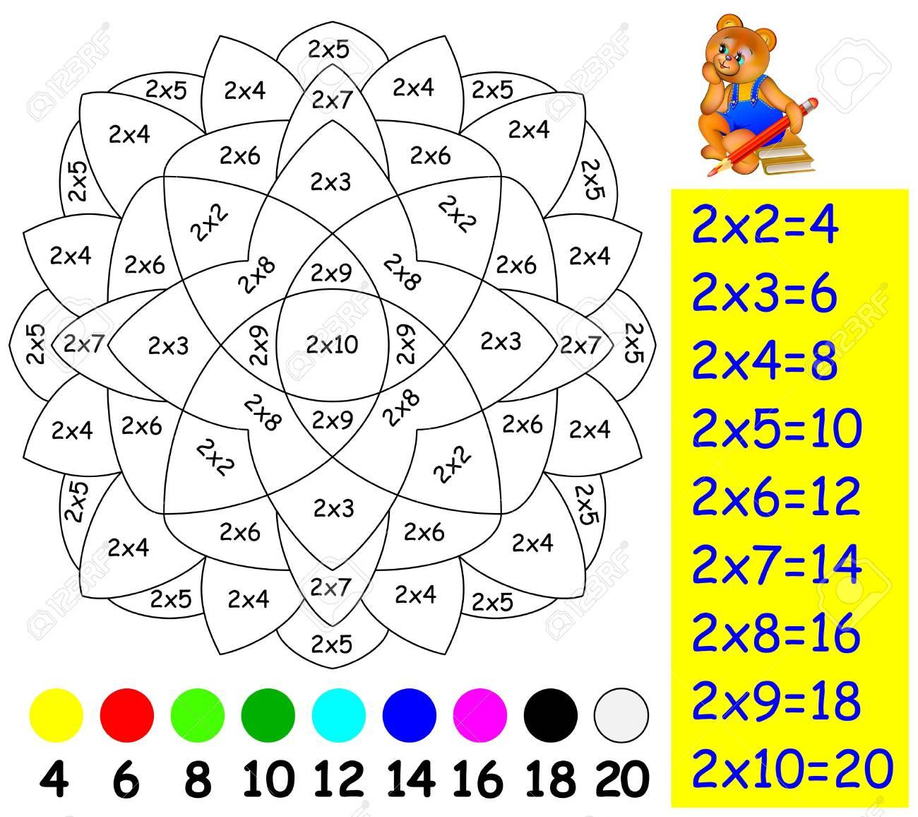 Ejercicio Para Niños Con Multiplicación Por Dos Necesita Pintar La Imagen En Un Color Relevante Desarrollar Habilidades Para Contar Y Multiplicar