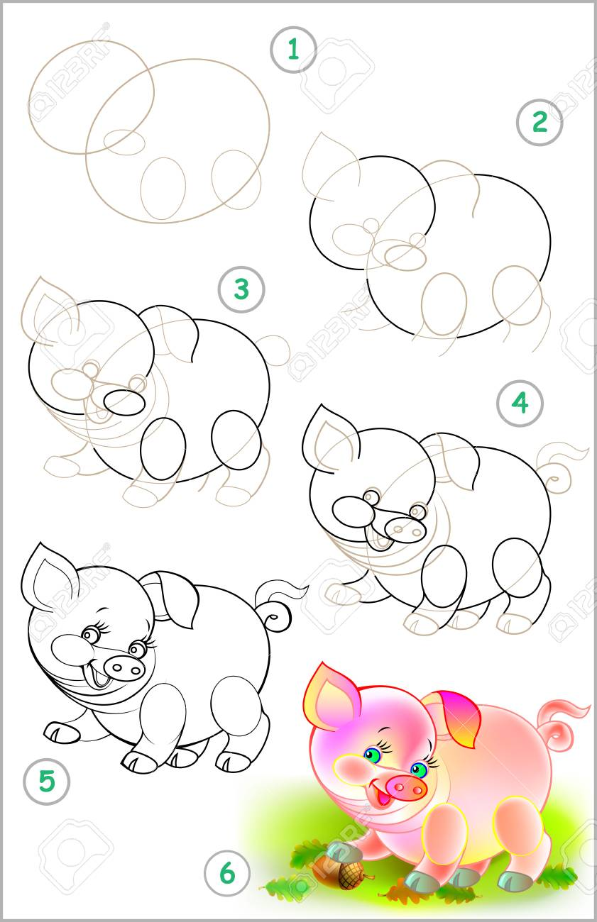 Page shows how to learn step to draw little pig developing children skills for drawing and